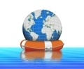 Buoy and Globe on Water Floating