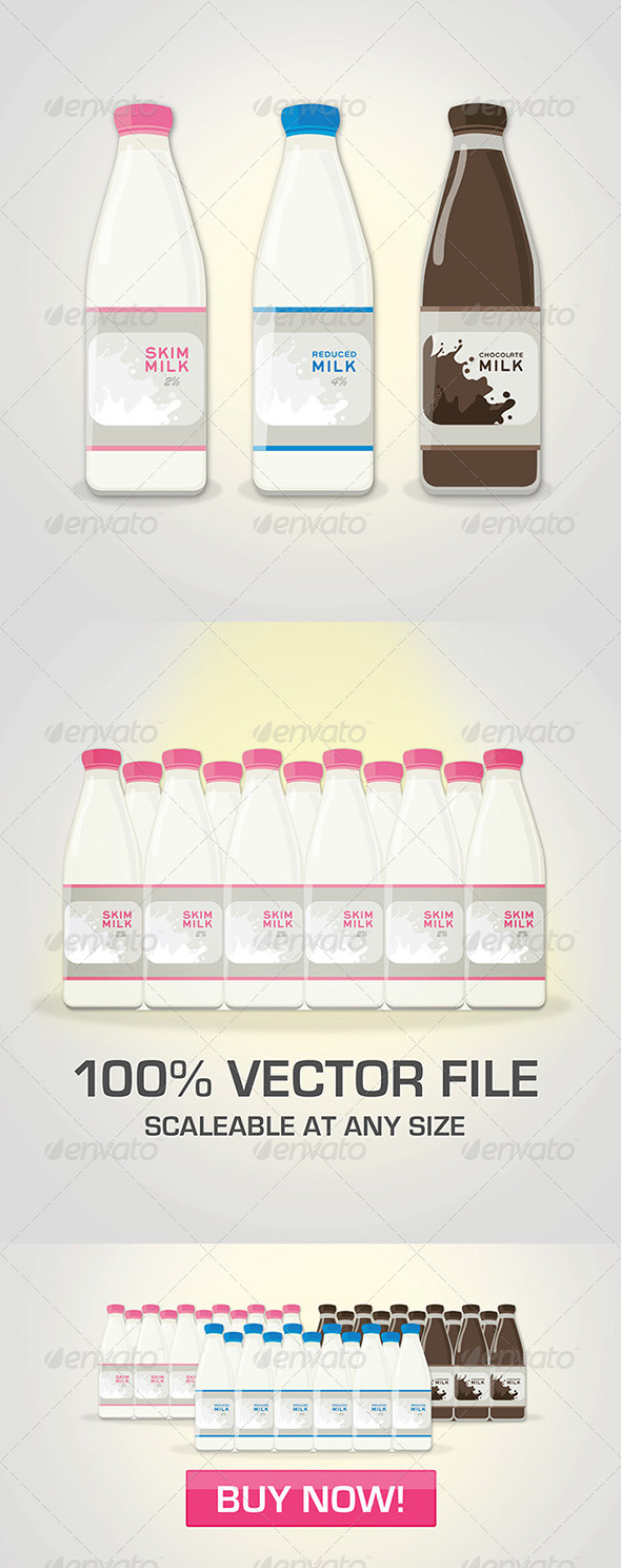 GraphicRiver 3 Color Milk Bottle Package 5508546