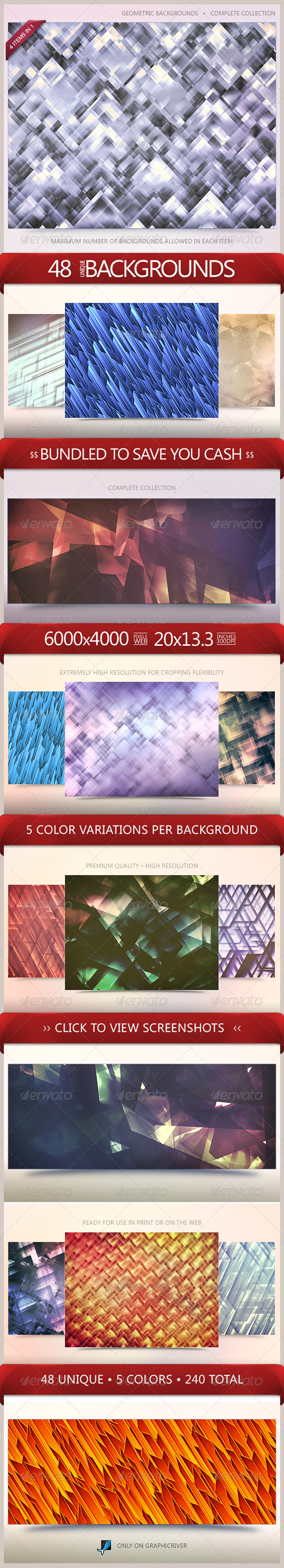 GraphicRiver Geometric Backgrounds Bundle 5523057