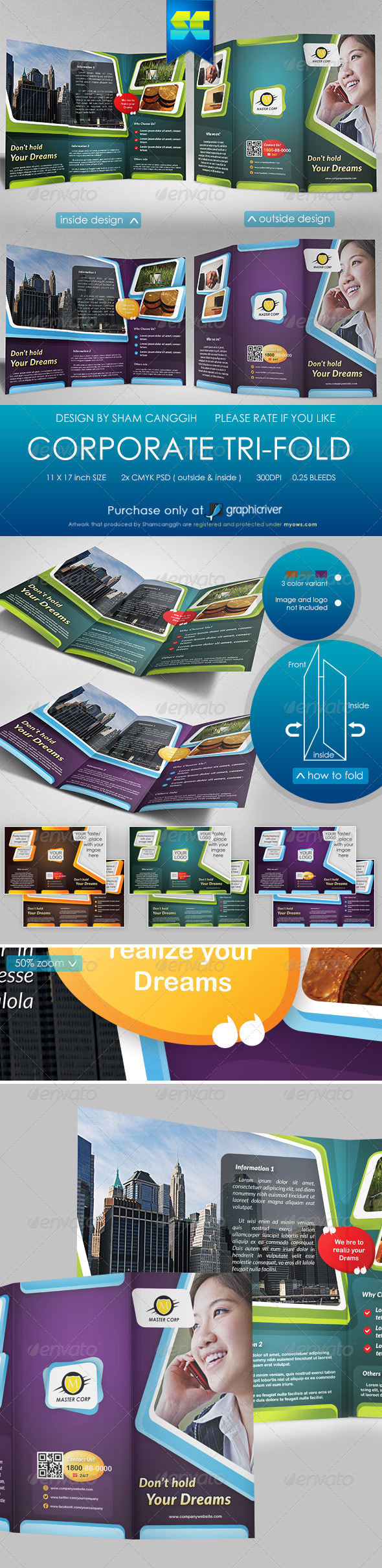 Modern Multi-Purpose Corporate Tri-fold - Corporate Brochures