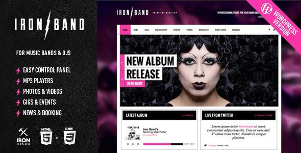 ThemeForest IronBand Music Band & DJ Wordpress Theme 5398241