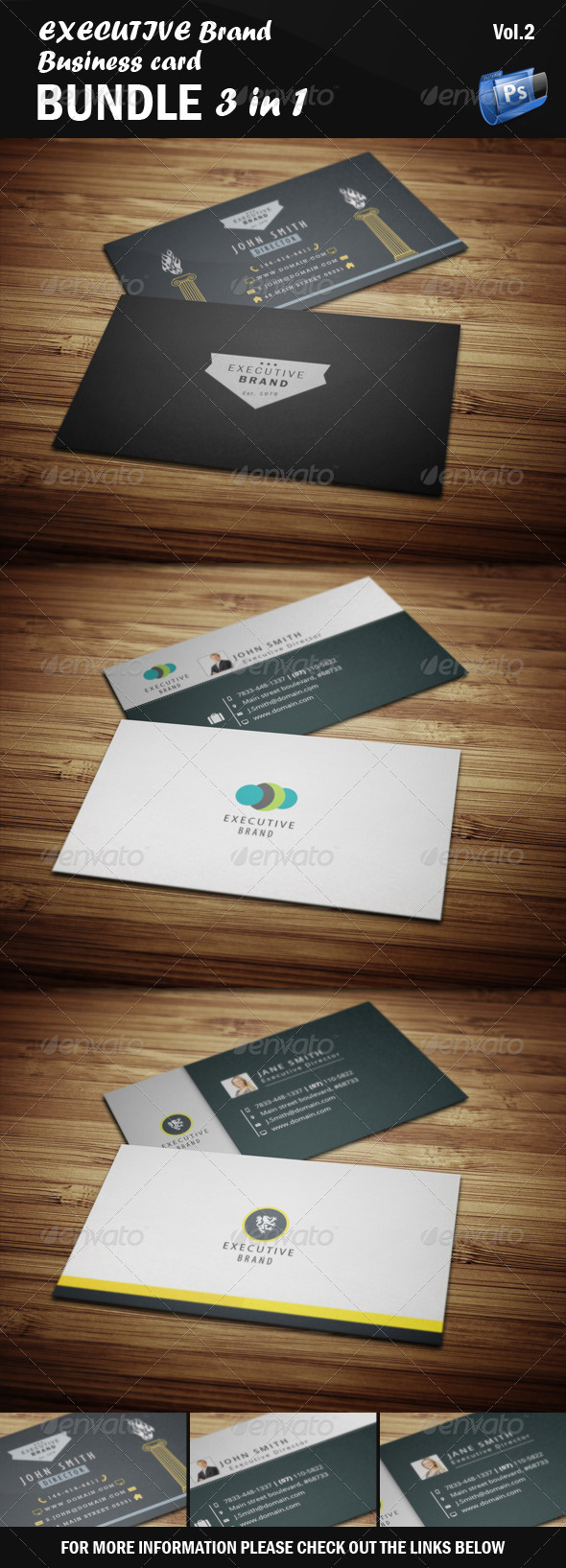GraphicRiver Executive Business Card Bundle 3 in 1 [Vol.2] 5523356