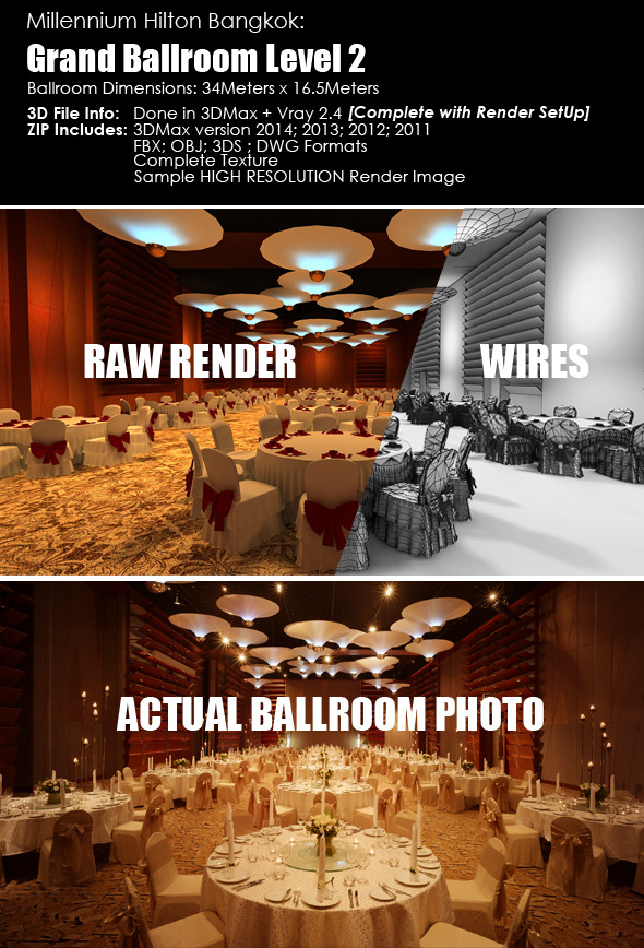 3DOcean Grand Hotel Ballroom Interior 3D File Template 5513668
