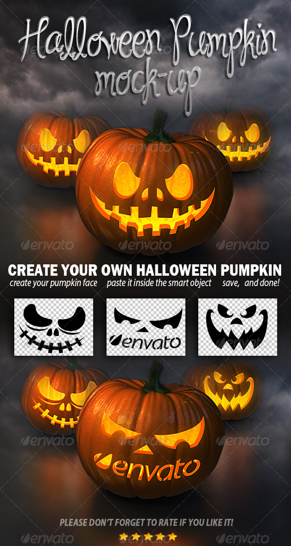 GraphicRiver Halloween Pumpkin Mockup 5523711