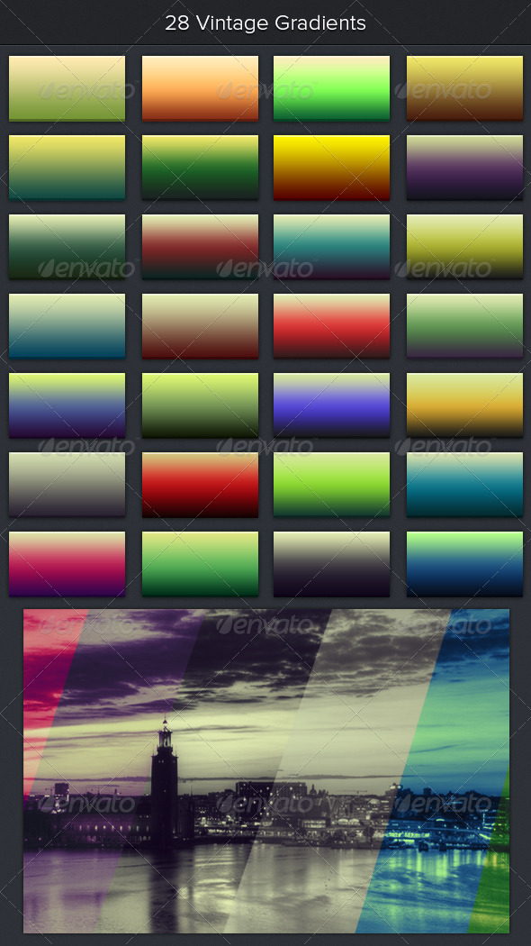 28 Vintage Gradients - Photoshop Add-ons