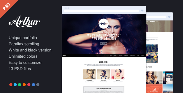 Arthur - PSD parallax portfolio - Creative PSD Templates