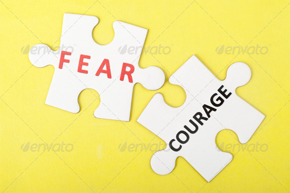 Fear versus courage - Stock Photo - Images