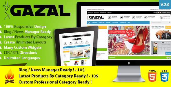 Gazal is 100% Responsive Opencart theme e-commerce theme compatible with 1.5.4.1, 1.5.5.1, 1.5.6 Opencart versions creat