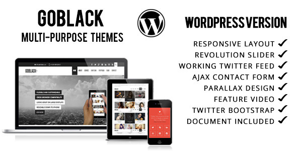ThemeForest GoBlack Onepage Parallax WordPress Theme 5428725