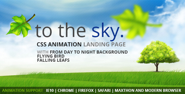 ThemeForest to the Sky CSS Animation Landing Page 5519298
