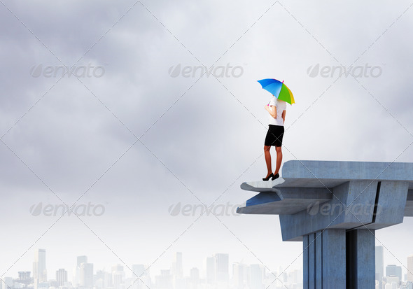 Businesswoman on bridge - Stock Photo - Images