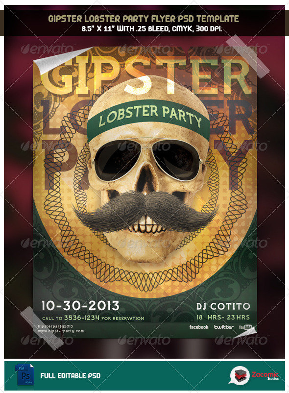 GraphicRiver Gipster Lobster Party 5496298
