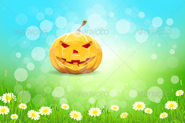 GraphicRiver Halloween Background with Pumpkin 5528665