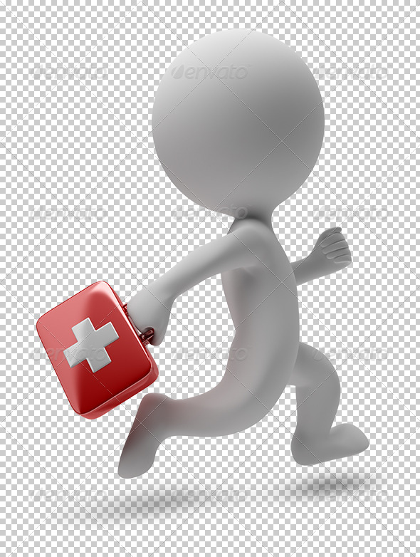 GraphicRiver 3D small people running doctor 5529590