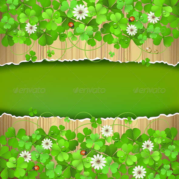 GraphicRiver Wood Background with Clover 5529741
