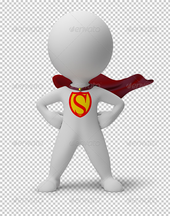 GraphicRiver 3D small people superhero 5530089