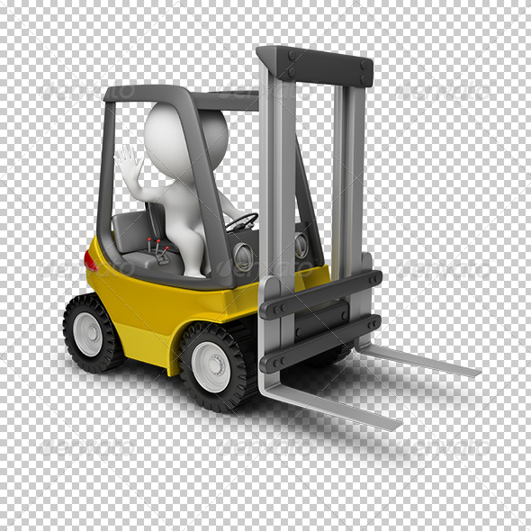 GraphicRiver 3D small people forklift 5530274