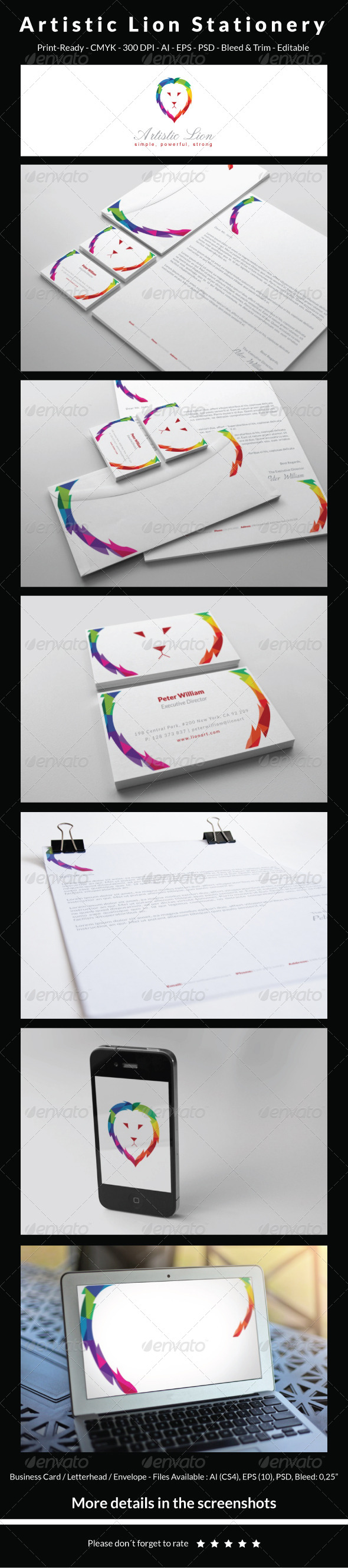 GraphicRiver Artistic Lion Stationery 5440909
