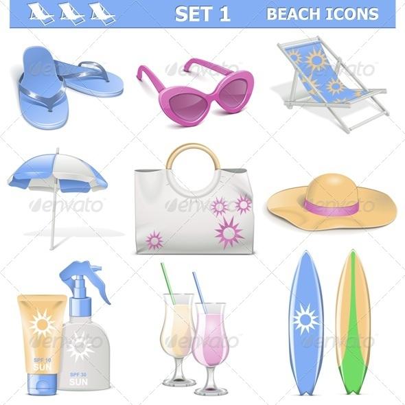 GraphicRiver Vector Beach Icons Set 1 5530795