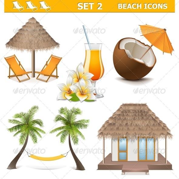 Vector Beach Icons Set 2