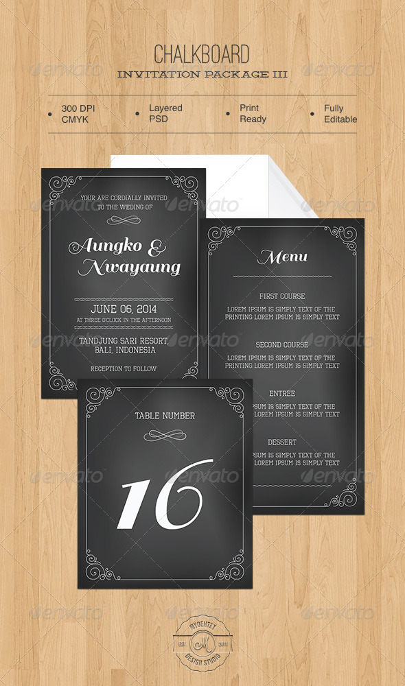 GraphicRiver Chalkboard Invitation Package III 5531661