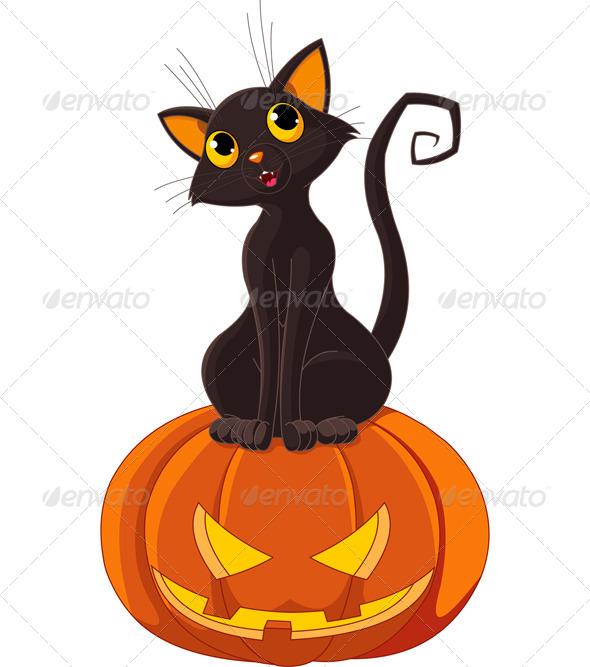 GraphicRiver Halloween Cat on Pumpkin 5533079