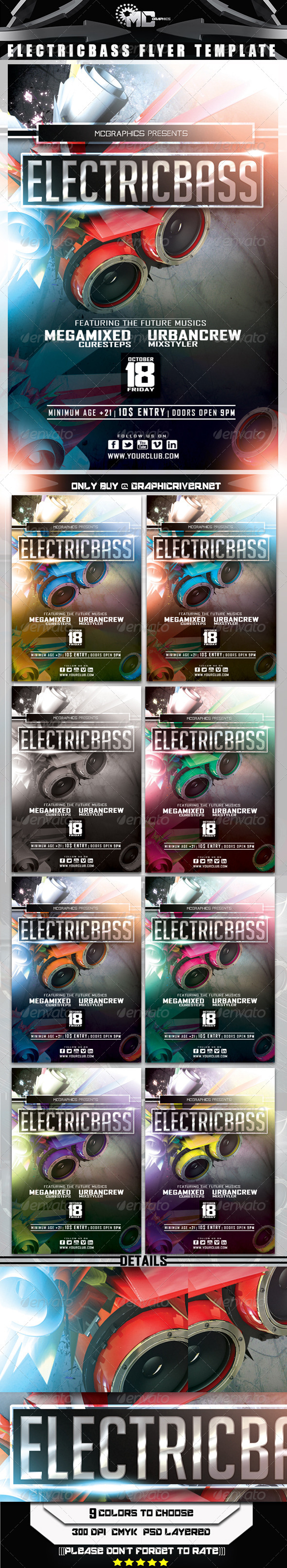 GraphicRiver Electric Bass Fyer Template 5312528