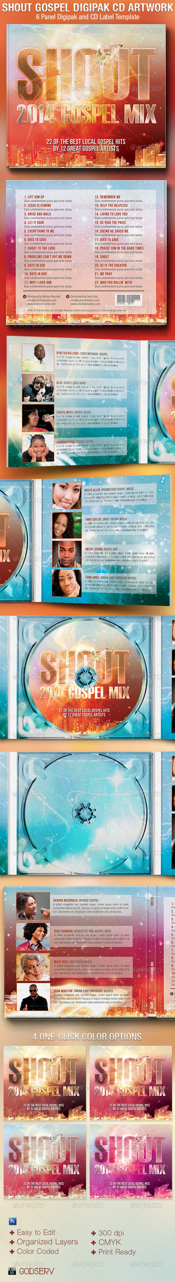 Shout Gospel 6 Panel Digipak CD Artwork Template - CD & DVD artwork Print Templates