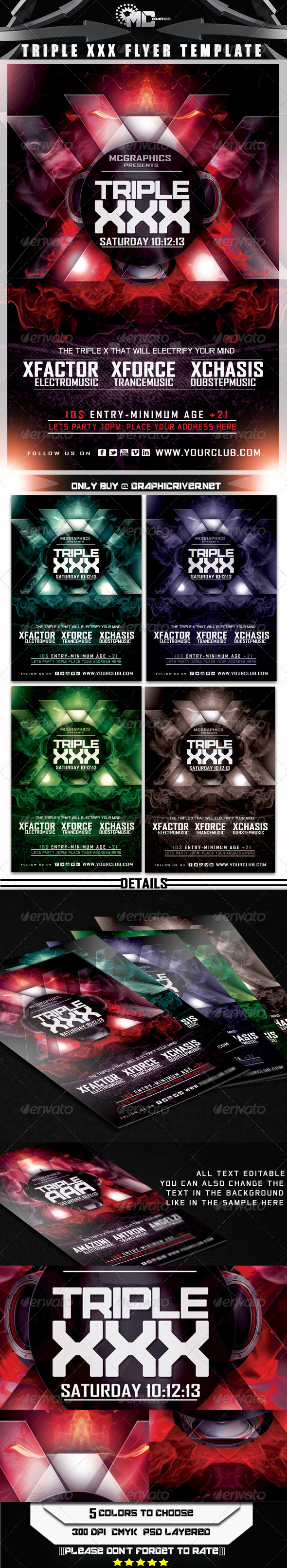 Triple XXX Flyer Template - Flyers Print Templates