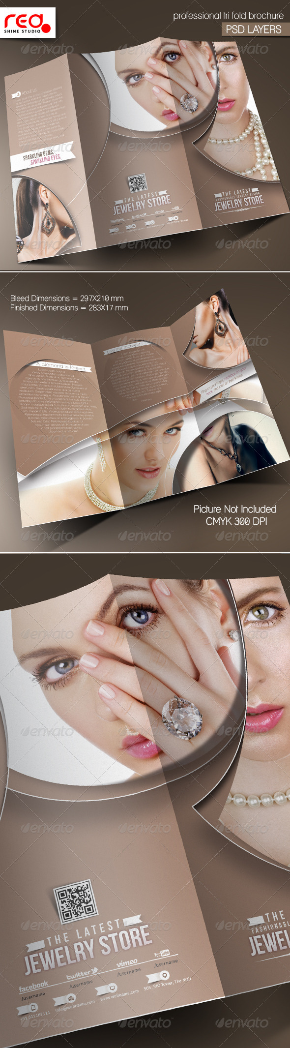 GraphicRiver Jewelry Shop Trifold Brochure Template 5536613