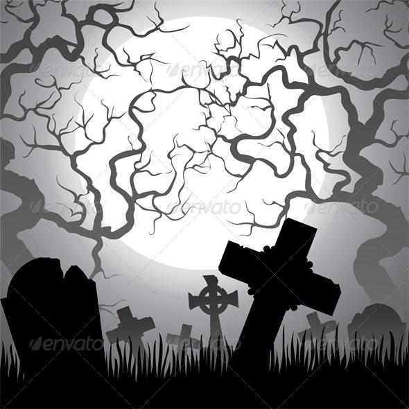GraphicRiver Spooky Halloween Cemetery 5536949