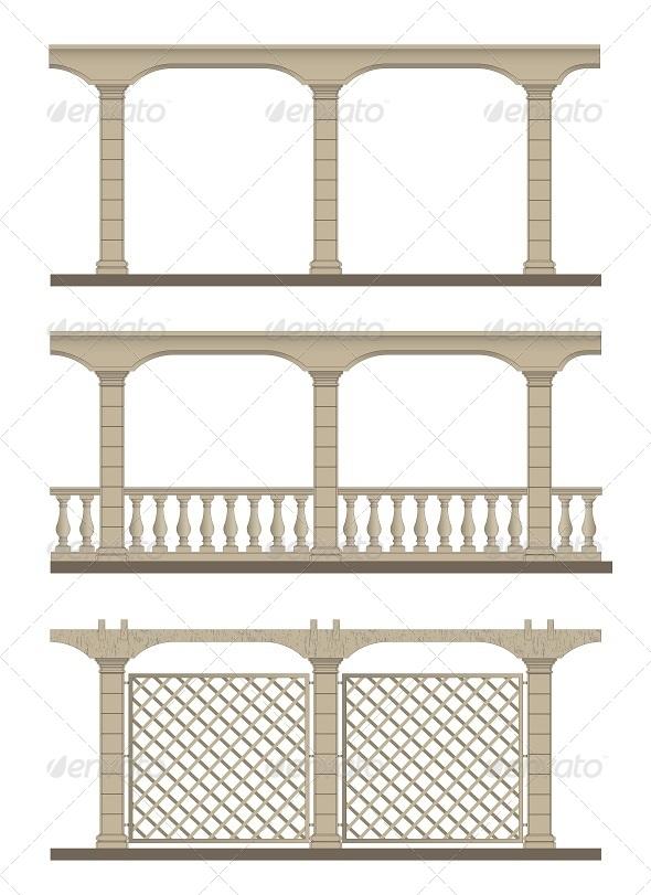 Set of Vector Pergola
