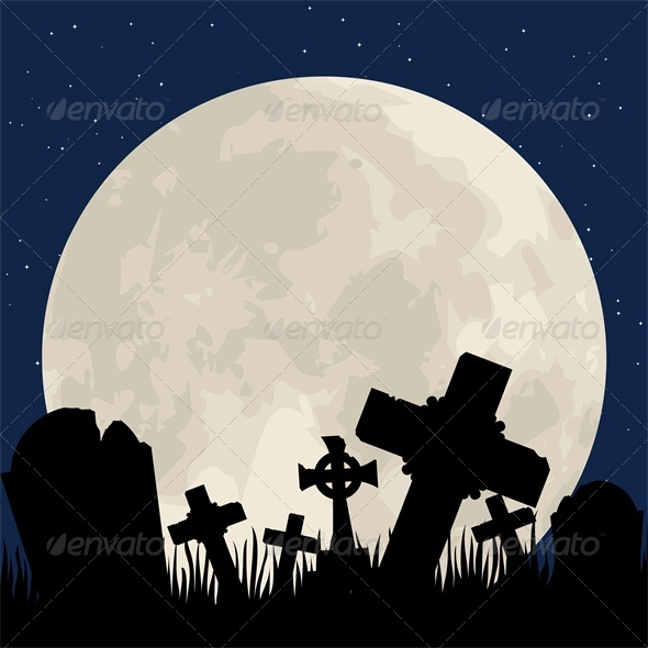 Cemetery with Graveyard and Moon