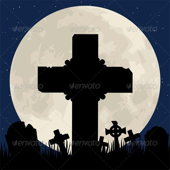 Halloween Cemetery with Graveyard and Moon