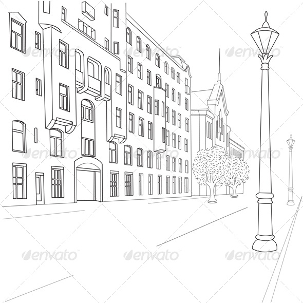 Outline Sketch of European City Street | GraphicRiver