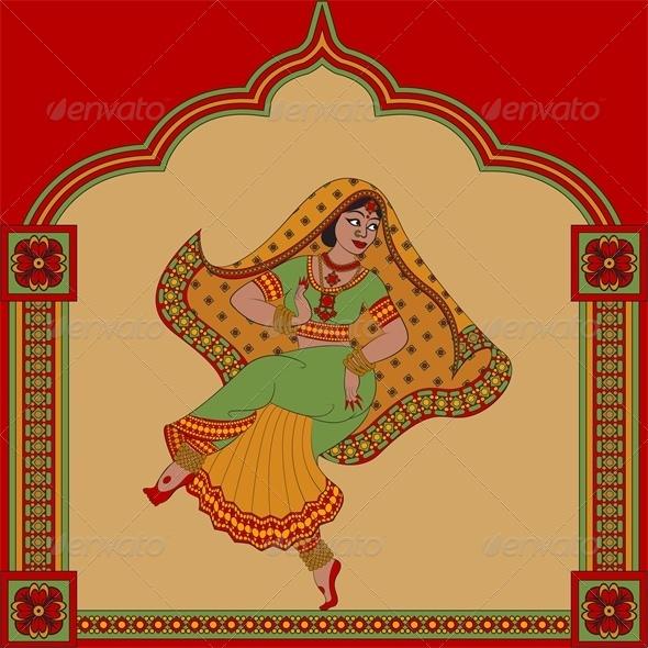 Indian Woman Dancer Dancing