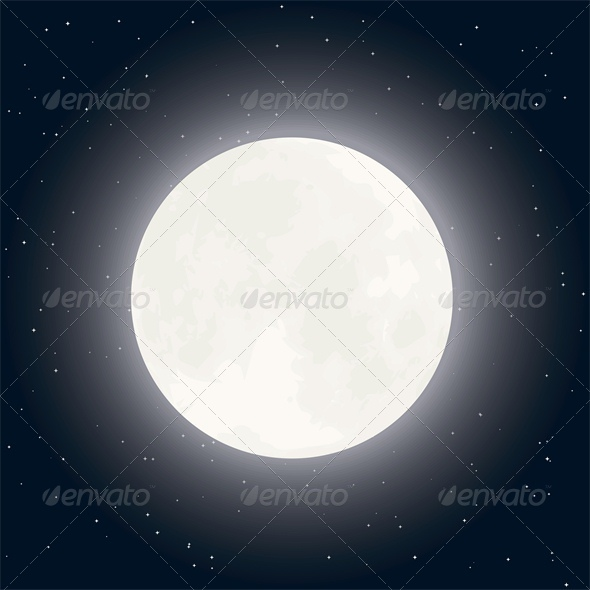 GraphicRiver Background with Moon and Stars in Clear Night Sky 5537071
