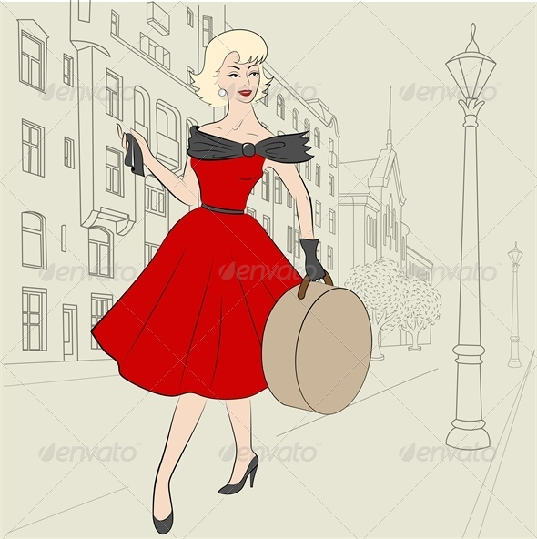 GraphicRiver Woman of 50s with Hatbag 5537119