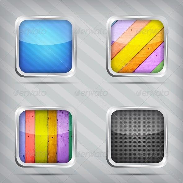 GraphicRiver Set of Empty Icons on a Striped Background 5537159