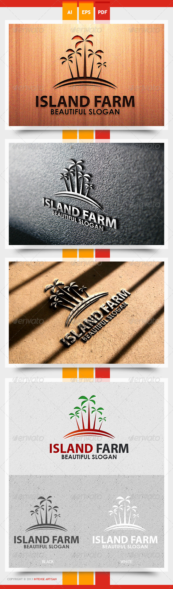 Island Farm Logo Template - Nature Logo Templates
