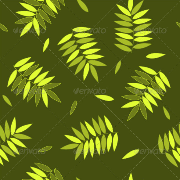 GraphicRiver Green and Yellow Autumn Leaves Seamless Pattern 5537704