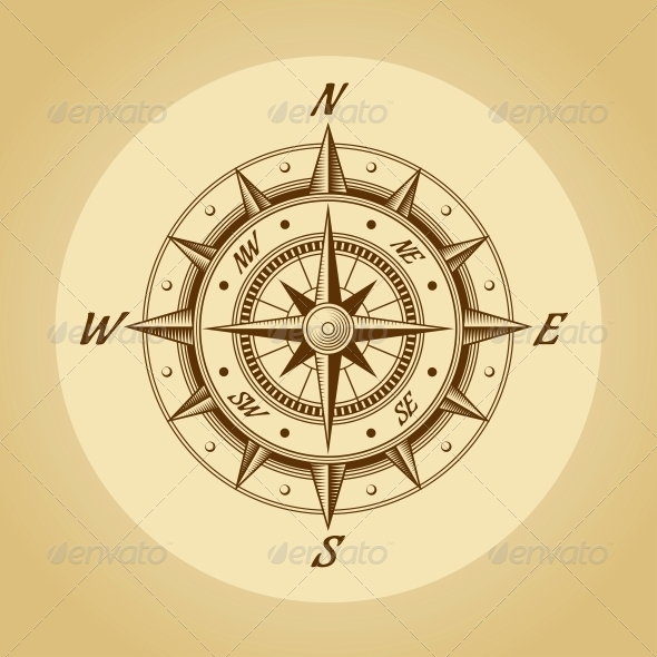 GraphicRiver Wind Rose in Old Retro Style Vector 5537762