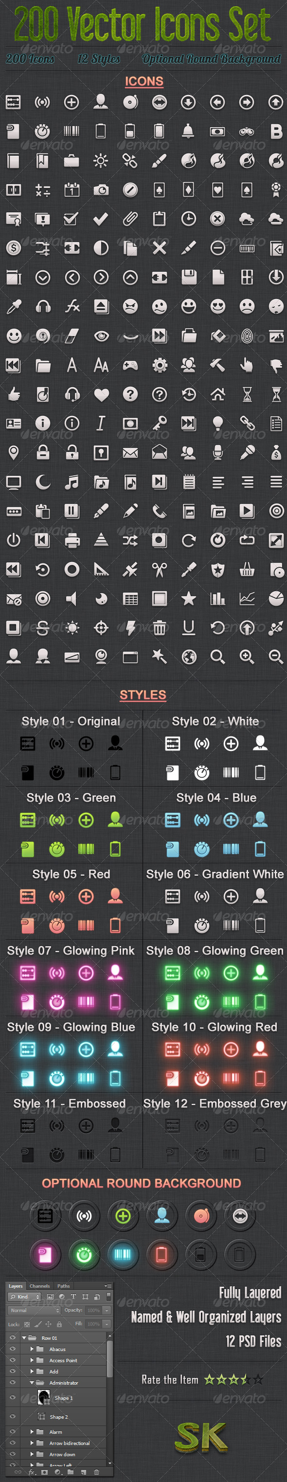 GraphicRiver 200 Vector Icons Set 5538319