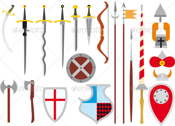 Large Set of Medieval Weapons - Objects Vectors