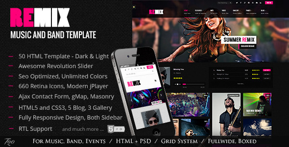 ThemeForest Remix Music and Band HTML5 Template 5536603