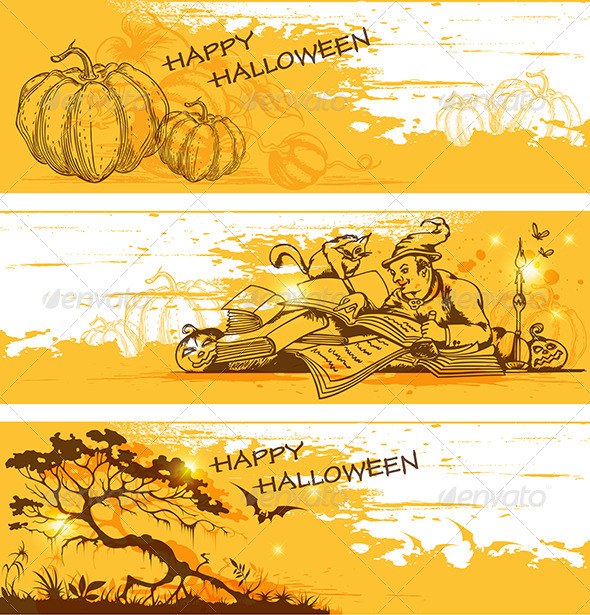 GraphicRiver Yellow Halloween Banners 5538680