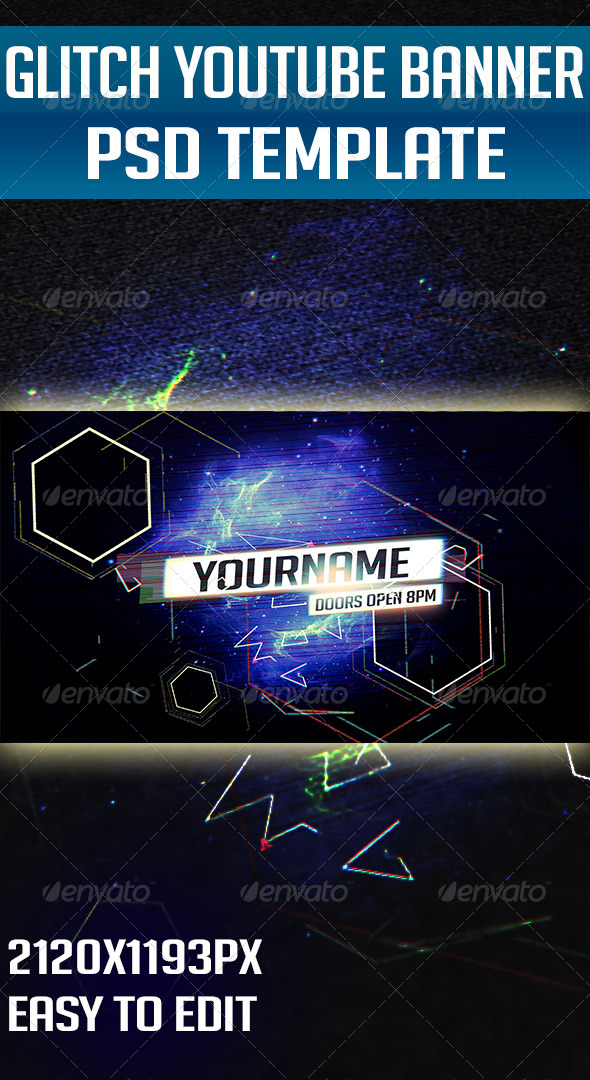 GraphicRiver Glitch YouTube One Channel Design Banner 5538769