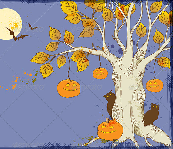 GraphicRiver Tree and Pumpkins 5538844