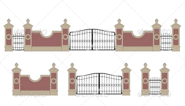 GraphicRiver Forged Iron Gate with Pillars 5538850