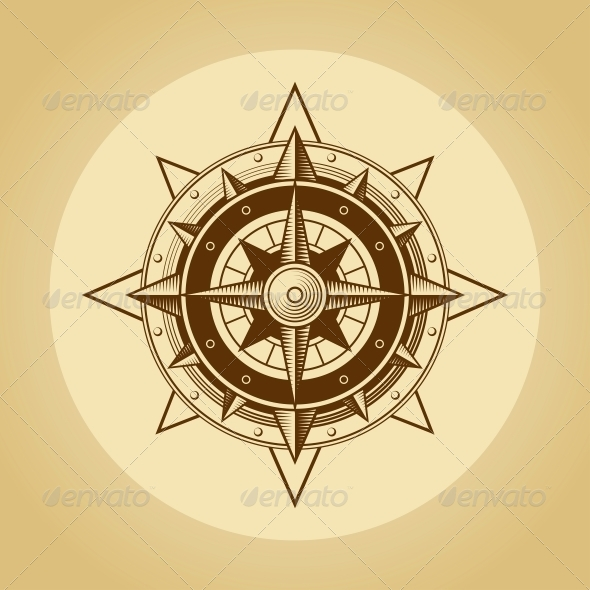 GraphicRiver Wind Rose in Old Retro Style Vector 5538860